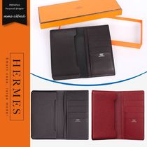 HERMES Unisex Plain Leather Smart Phone Cases