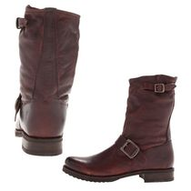 FRYE Round Toe Plain Leather Mid Heel Boots