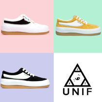 UNIF Clothing Rubber Sole Street Style Plain Party Style Low-Top Sneakers