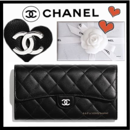 CHANEL MATELASSE Unisex Lambskin Plain Long Wallets
