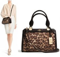 Coach MADISON Leopard Patterns Canvas 2WAY Party Style Handbags