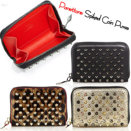 Christian Louboutin Panettone  Leopard Patterns Unisex Plain Leather Coin Purses