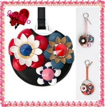 FENDI Flower Patterns Leather Keychains & Bag Charms