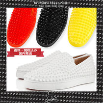 Christian Louboutin ROLLER BOAT Studded Plain Leather Loafers & Slip-ons