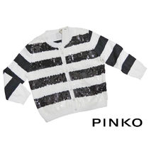 PINKO Short Stripes Cropped Cotton Boleros & Shawls