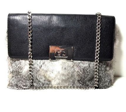 Michael Kors Fur 2WAY Chain Plain Party Style Clutches