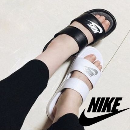 Nike BENASSI Open Toe Platform Casual Style Plain Shower Shoes