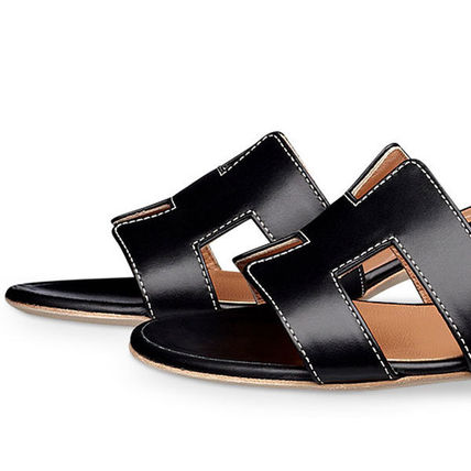 HERMES Oasis Open Toe Leather Block Heels Sandals