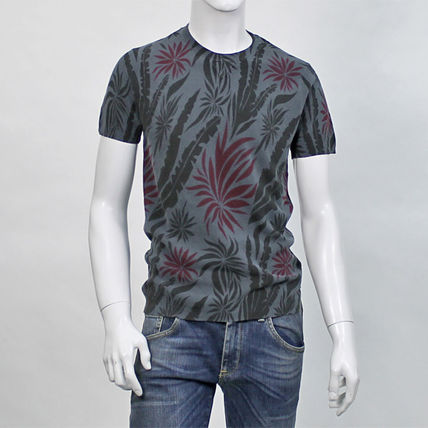 Crew Neck Tropical Patterns Cotton Short Sleeves