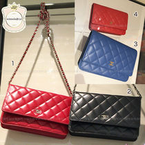 CHANEL CHAIN WALLET Leather Long Wallets