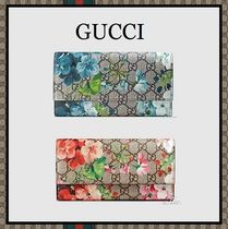 GUCCI Flower Patterns Monoglam Long Wallets