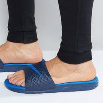 Nike BENASSI Other Check Patterns Street Style Plain Shower Shoes