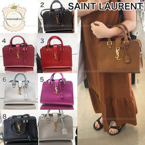 Saint Laurent CABAS Street Style 2WAY Plain Leather Office Style Elegant Style