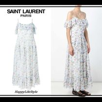 Saint Laurent Flower Patterns Maxi Silk Sleeveless Dresses