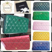 CHANEL MATELASSE Street Style Leather Long Wallets