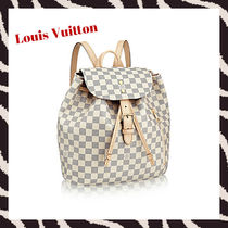 Louis Vuitton DAMIER AZUR Monogram Casual Style Unisex Plain Leather Purses Backpacks