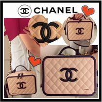 CHANEL ICON Beige&Black/GHW Calfskin CC Filigree Large Vanity Case Bag