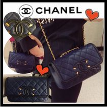 CHANEL ICON Navy & Black/GHW Grained Calfskin Flap Bag