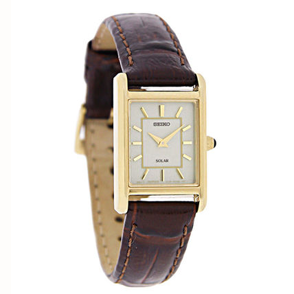 SEIKO Leather Square Quartz Watches Office Style Analog Watches
