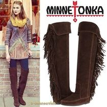 Minnetonka Suede Plain Fringes Over-the-Knee Boots