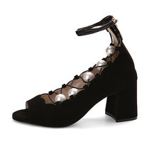SUECOMMA BONNIE Argile Open Toe Street Style Plain Leather Block Heels