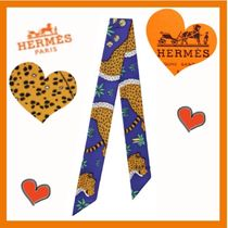 HERMES Leopard Patterns Unisex Silk Party Style