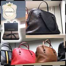 GUCCI Street Style 2WAY Plain Leather Office Style Handbags