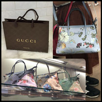 GUCCI Flower Patterns Nylon Street Style 2WAY Party Style Totes