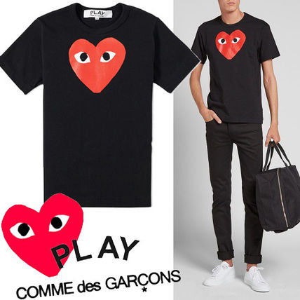 -COMME des GARCONS PLAY-Red Play Heart T shirt black x Red