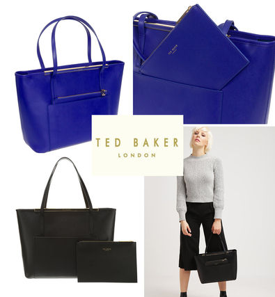 A4 Plain Leather Office Style Totes