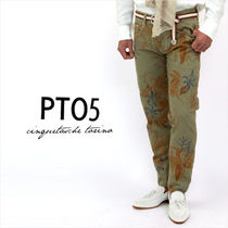 PT05 Tapered Pants Flower Patterns Cotton Tapered Pants
