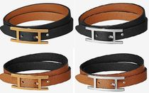 HERMES Unisex Initial Leather Office Style Bracelets