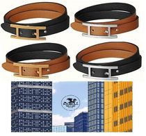 HERMES Costume Jewelry Casual Style Unisex Initial Leather
