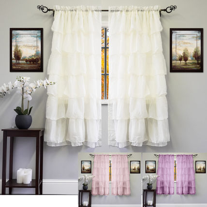Cute Shabby chic of frilly curtains 2 piece set 1.6 m