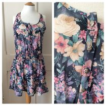 Primark Flower Patterns Sleeveless Flared U-Neck Medium Dresses
