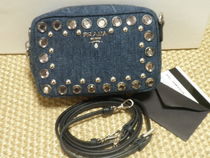 PRADA CANAPA Canvas Plain With Jewels Shoulder Bags