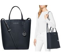 Michael Kors HAYLEY 2WAY Plain Leather Office Style Totes