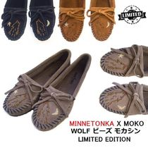 Minnetonka Moccasin Round Toe Suede Blended Fabrics Collaboration Plain