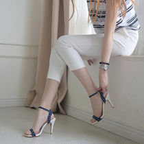 Dots Open Toe Casual Style Pin Heels Heeled Sandals
