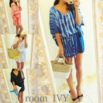 room IVY Casual Style Flared Tie-dye Cropped Medium Oversized Dresses