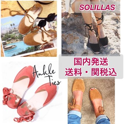 Open Toe Rubber Sole Casual Style Suede Plain Handmade