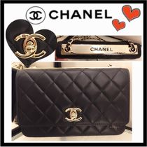 CHANEL CHAIN WALLET Lambskin 2WAY Chain Plain Party Style Shoulder Bags