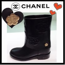 CHANEL ICON Flower Patterns Round Toe Casual Style Leather Block Heels