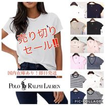 Ralph Lauren Crew Neck Stripes Plain Cotton Short Sleeves T-Shirts
