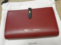 CELINE Strap Unisex Bi-color Leather Long Wallets