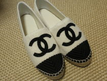 CHANEL ICON Plain Toe Casual Style Suede Bi-color Pointed Toe Shoes