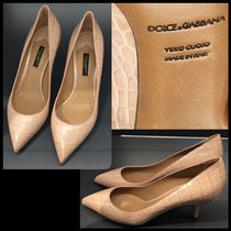 Dolce & Gabbana Leather Pin Heels Party Style Pointed Toe Pumps & Mules