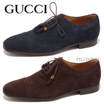 GUCCI Wing Tip Suede Plain Oxfords