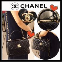 CHANEL ICON Black/GHW Lambskin Trendy CC Small Top Handle Bag