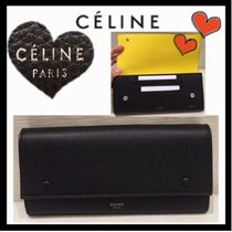 CELINE Classic Unisex Bi-color Leather Long Wallets
